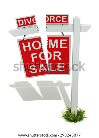 Divorce concept with home for sale sign - 3D illustration - stock photo