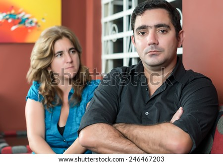 Divorce, marital problems - Husband and wife angry after a fight - stock photo