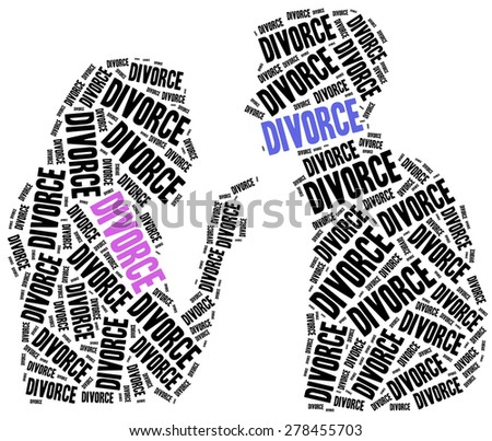 Divorce of marriage breakup. Word cloud illustration. - stock photo
