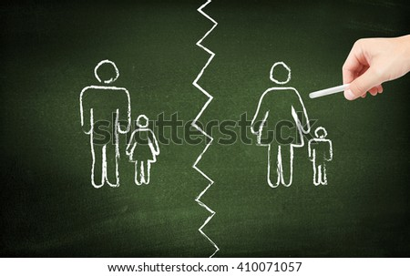 Divorce on blackboard - stock photo