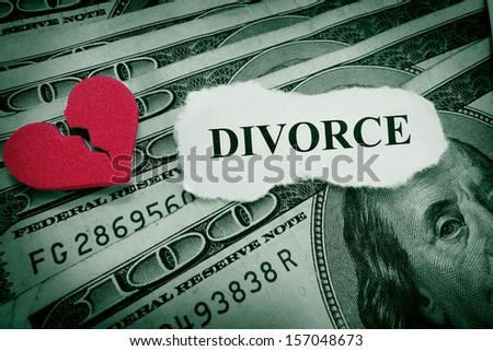 Divorce paper with red broken heart on money                               - stock photo