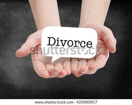 Divorce written on a speechbubble - stock photo