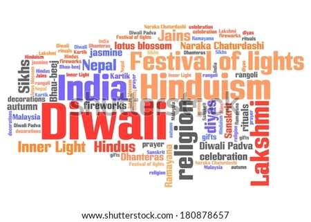 Diwali celebration concepts word cloud illustration. Word collage concept. - stock photo
