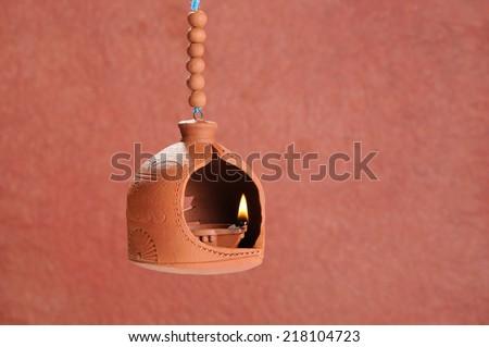 Diwali Lamp , Beautifully Lit Lamps for the Hindu Diwali festival - stock photo