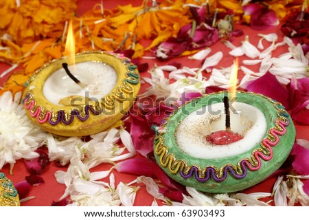 Diwali Lamps-beautiful traditional decorated lamps   on the occasion of Diwali festival  in India. - stock photo