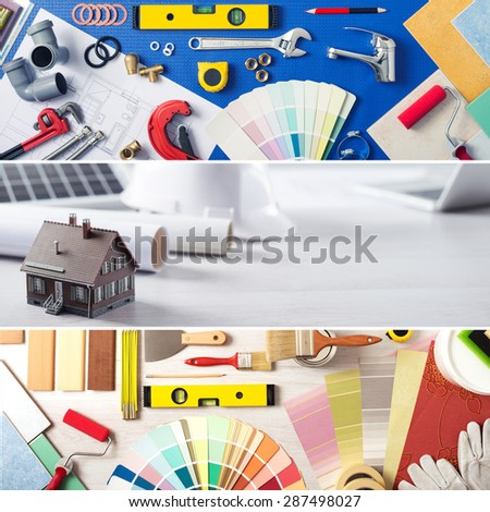 DIY home improvement and renovation banners set with work tools, swatches and model house - stock photo