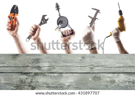 DIY tools set collage with copy space for text at wooden background isolated on white. - stock photo