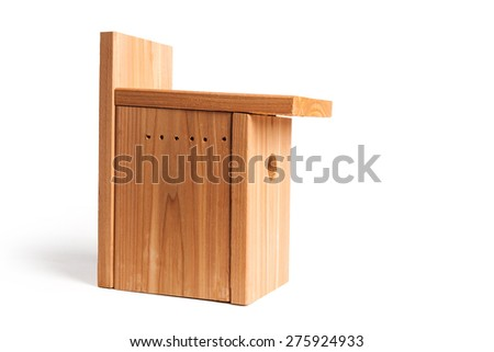 DIY wood birdhouse with white background - stock photo