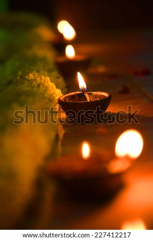 Diyas in a row  - stock photo