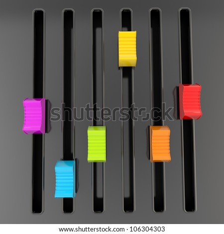 DJ and music: black glossy mixer panel with rainbow colored sliders - stock photo