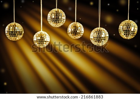 DJ background with golden light effects - stock photo