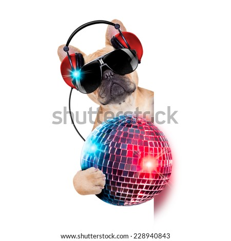 dj bulldog dog with headphones listening to music holding a disco ball, besides a white banner or placard , isolated on white background - stock photo
