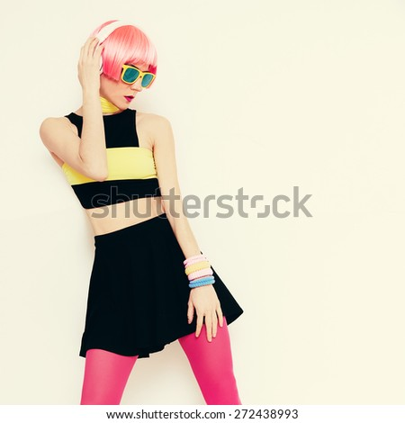 DJ dancing Girl Party style - stock photo