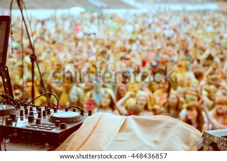 dj equipment and hands - stock photo