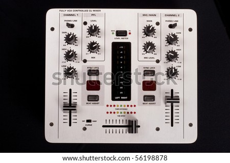 Dj mixer on a black background top view - stock photo