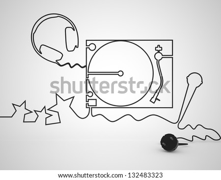 Dj Mixer with headphones and microphone. Concept. Isolated on white. 3D render. - stock photo