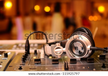 DJ Mixes Tracks - stock photo