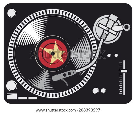 DJ music turntable (DJ Gramophone, Dj mixer, turntable dj player) - stock photo