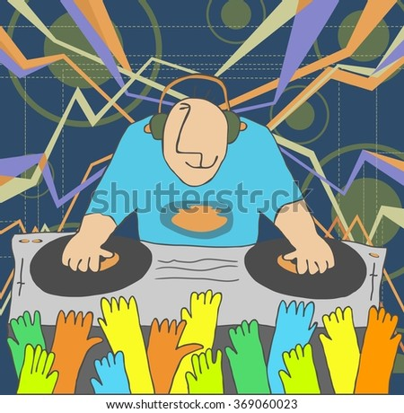 DJ performing music and people dancing with hands up - stock photo