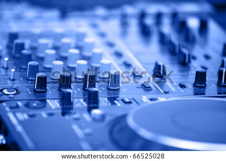 DJ's equipment background - stock photo