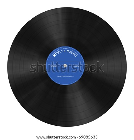 DJ `s gramophone plate illustration - stock photo