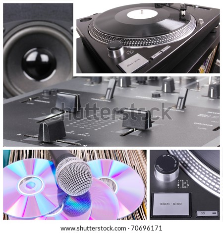 Dj tools collage, closeup parts - stock photo