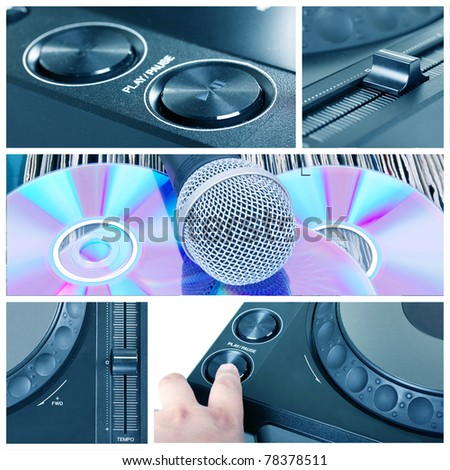Dj tools collage with parts of cd player, microphone  and mixer - stock photo