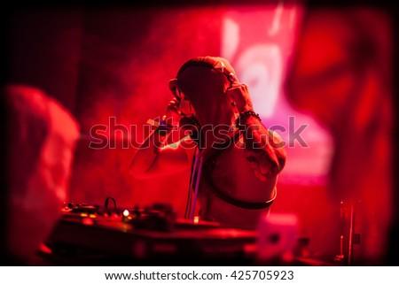 DJ with a gag - stock photo