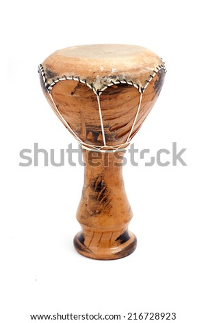 djembe, african drum on white background - stock photo