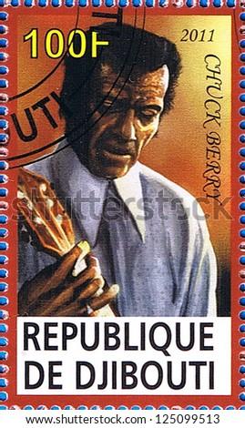 DJIBOUTI - CIRCA 2011: A postage stamp printed in the Republic of Djibouti showing Chuck Berry, circa 2011 - stock photo