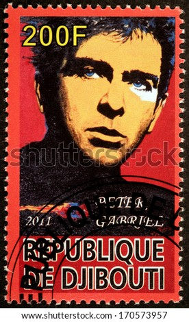 DJIBOUTI - CIRCA 2011: A stamp printed by DJIBOUTI shows image portrait of famous English singer, songwriter, musician and humanitarian activist Peter Brian Gabriel, circa 2011 - stock photo