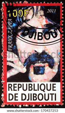 DJIBOUTI - CIRCA 2011: A stamp printed by DJIBOUTI shows portrait of American musician, songwriter, composer, recording engineer, record producer, and film director Frank Vincent Zappa, circa 2011 - stock photo