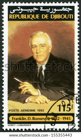 DJIBOUTI - CIRCA 1982: A stamp printed in Republic of Djibouti shows Franklin D. Roosevelt (1882-1945), circa 1982 - stock photo