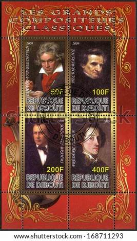 DJIBOUTI - CIRCA 2009: A stamp printed in Republic of Djibouti shows Ludwig van Beethoven (1770-1827), Johannes Brahms (1833-1897), Hector Berlioz (1803-1869) and Franz Liszt (1811-1886), circa 2009 - stock photo