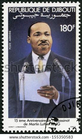 DJIBOUTI - CIRCA 1983: A stamp printed in Republic of Djibouti shows Martin Luther King, Jr. (1929-68), civil rights leader, circa 1983 - stock photo