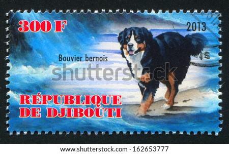 DJIBOUTI - CIRCA 2013: stamp printed by Djibouti, shows Bouvier bernois dog, circa 2013 - stock photo