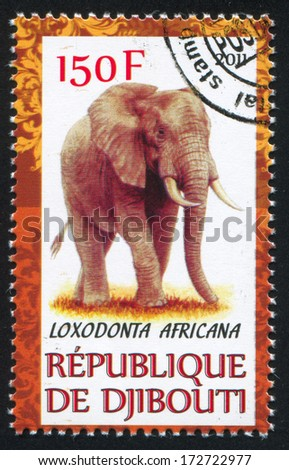 DJIBOUTI - CIRCA 2011: stamp printed by Djibouti, shows elephant, circa 2011 - stock photo
