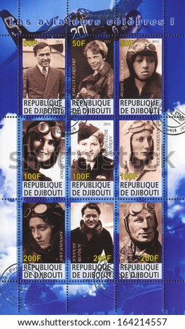 DJIBOUTI - CIRCA 2011: stamp printed by Djibouti, shows great pilots, circa 2011 - stock photo