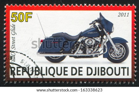 DJIBOUTI - CIRCA 2011: stamp printed by Djibouti, shows Harley Davidson, circa 2011 - stock photo