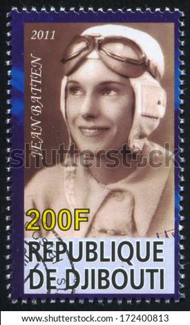 DJIBOUTI - CIRCA 2011: stamp printed by Djibouti, shows Jean Batten, circa 2011 - stock photo