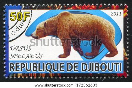 DJIBOUTI - CIRCA 2011: stamp printed by Djibouti, shows prehistoric Animals, circa 2011 - stock photo