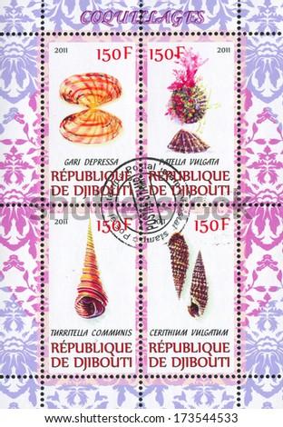 DJIBOUTI - CIRCA 2011: stamp printed by Djibouti, shows shell, circa 2011 - stock photo