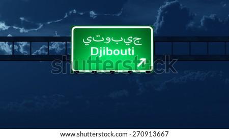 Djibouti Highway Road Sign at Night 3D artwork - stock photo