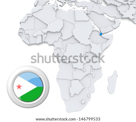 Djibouti with national flag - stock photo