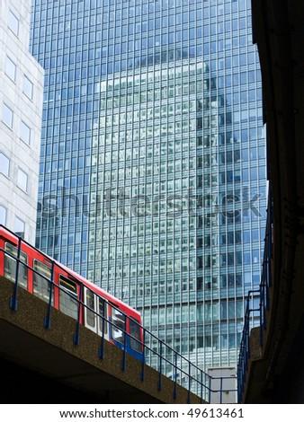 DLR train at Canary Wharf, London, UK - stock photo