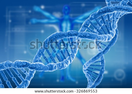 DNA and virus molecules on science background - stock photo
