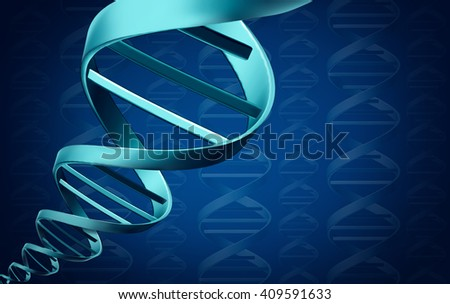 DNA background medical science concept as a molecular 3D illustration helix structure as a biochemistry and genetic symbol. - stock photo