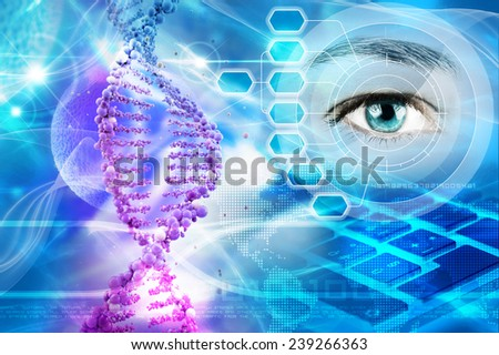 DNA helix and human eye in abstract blue background - stock photo