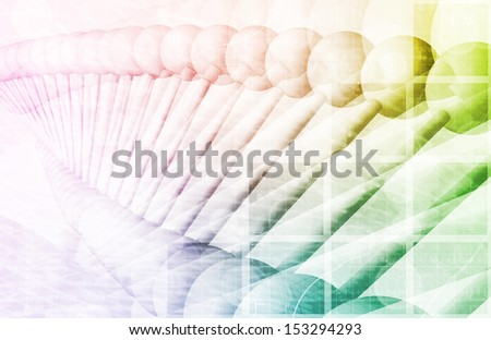 DNA Helix Structure with a Chemical Scheme - stock photo