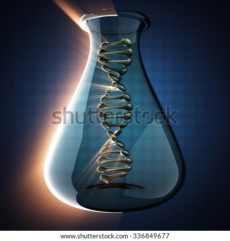 DNA model on blue background - stock photo